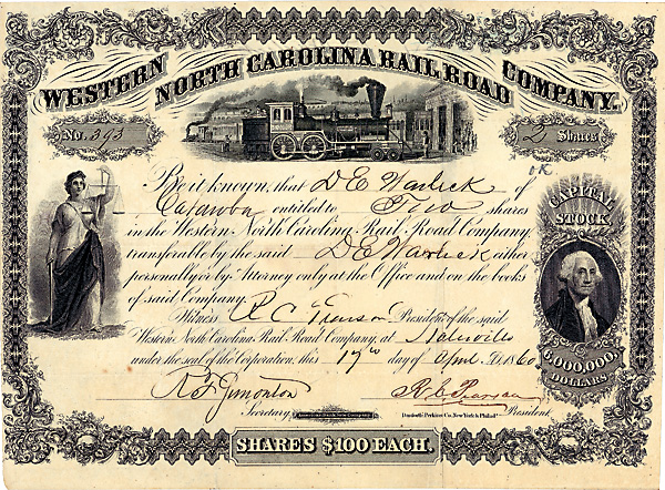 Western North Carolina Railroad Company 2 shares à 100 $ Slatesville, N.C., 17.4.1860