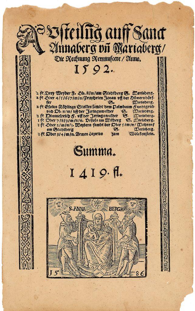 Austeilung auff Sanct Annaberg / Mariaberg Ausbeutebogen über 1.419 fl. Reminiscere 1592