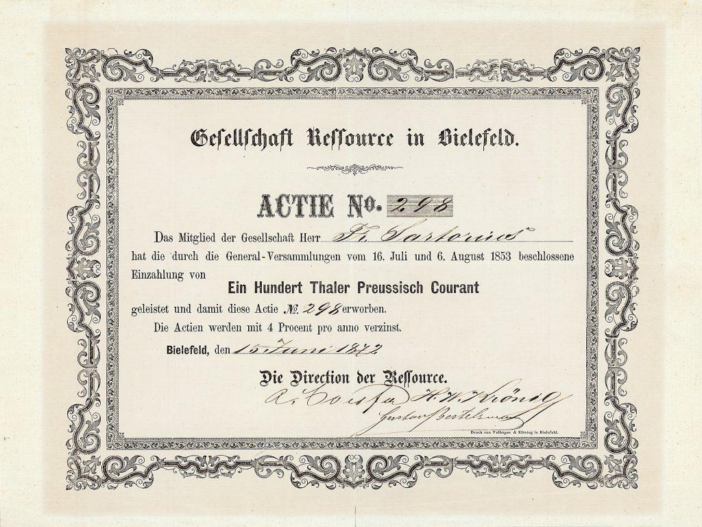 Gesellschaft Ressource, Bielefeld Namens-Actie 100 Thaler 15.6.1872