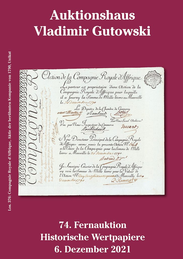 Katalog der 74. Gutowski-Auktion - Titelblatt
